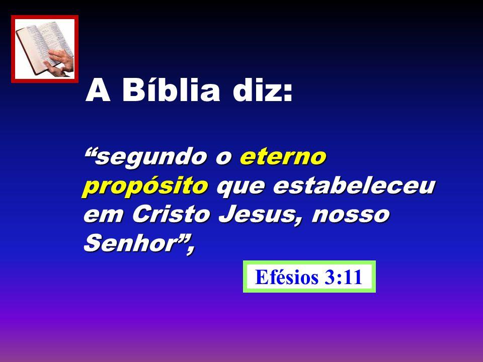 segundo o eterno propósito que estabeleceu em Cristo Jesus, nosso Senhor, Efésios 3:11 A Bíblia diz: