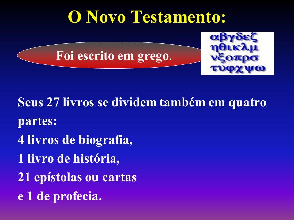 O Novo Testamento: Seus 27 livros se dividem também em quatro partes: 4 livros de biografia, 1 livro de história, 21 epístolas ou cartas e 1 de profec