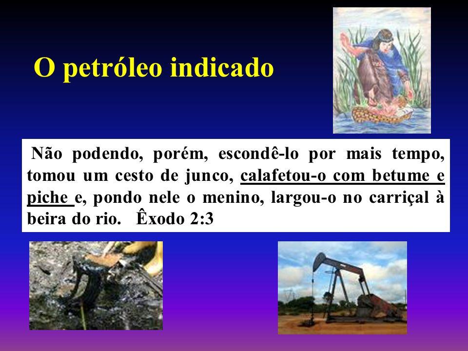 O petróleo indicado Não podendo, porém, escondê-lo por mais tempo, tomou um cesto de junco, calafetou-o com betume e piche e, pondo nele o menino, lar