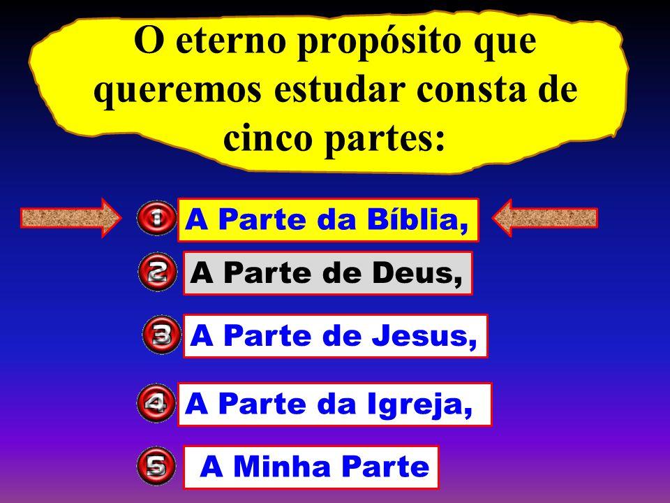 O eterno propósito que queremos estudar consta de cinco partes: A Parte da Bíblia, A Parte de Deus, A Parte de Jesus, A Parte da Igreja, A Minha Parte