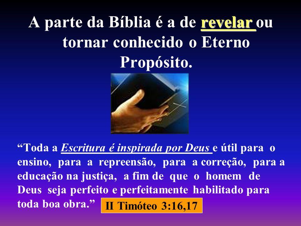revelar A parte da Bíblia é a de revelar ou tornar conhecido o Eterno Propósito. Toda a Escritura é inspirada por Deus e útil para o ensino, para a re