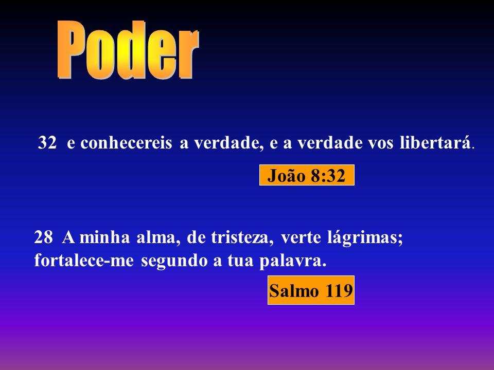 32 e conhecereis a verdade, e a verdade vos libertará. 28 A minha alma, de tristeza, verte lágrimas; fortalece-me segundo a tua palavra. João 8:32 Sal