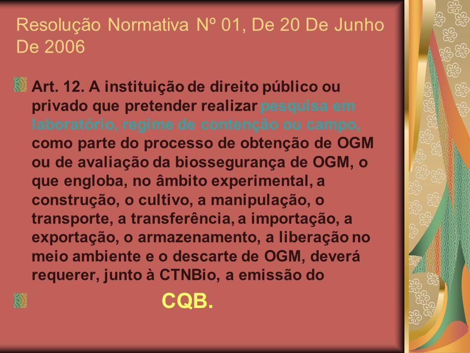 Resolução Normativa Nº 01, De 20 De Junho De 2006 Art. 12. A instituição de direito público ou privado que pretender realizar pesquisa em laboratório,