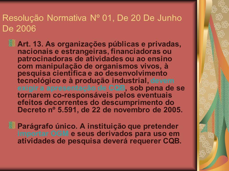 Resolução Normativa Nº 01, De 20 De Junho De 2006 Art. 13. As organizações públicas e privadas, nacionais e estrangeiras, financiadoras ou patrocinado