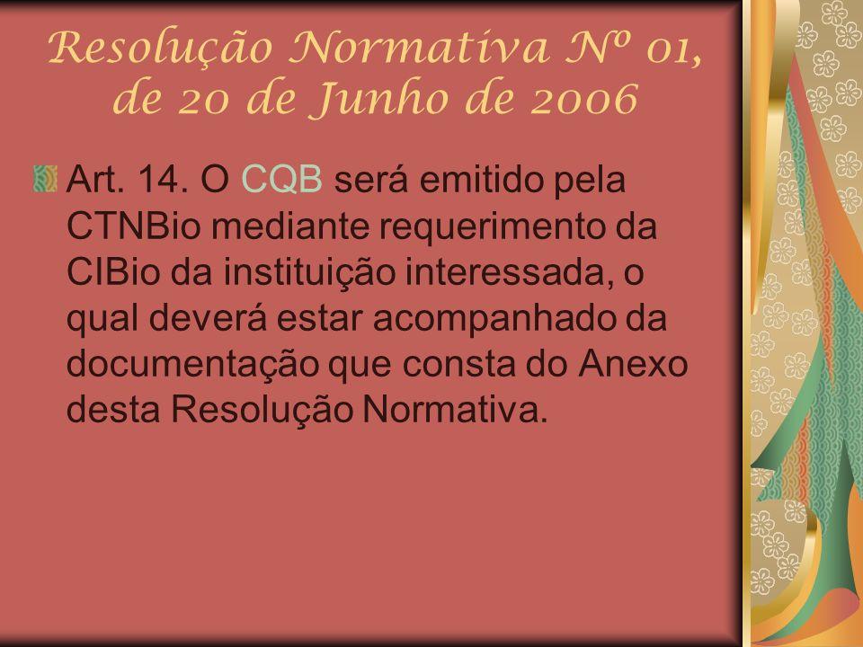 Resolução Normativa Nº 01, de 20 de Junho de 2006 Art. 14. O CQB será emitido pela CTNBio mediante requerimento da CIBio da instituição interessada, o