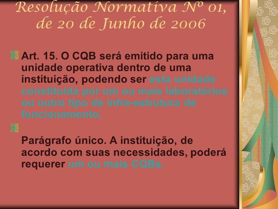 Resolução Normativa Nº 01, de 20 de Junho de 2006 Art. 15. O CQB será emitido para uma unidade operativa dentro de uma instituição, podendo ser esta u