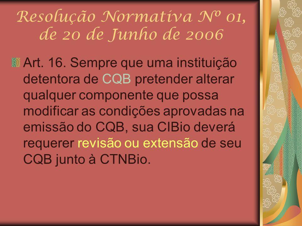 Resolução Normativa Nº 01, de 20 de Junho de 2006 Art. 16. Sempre que uma instituição detentora de CQB pretender alterar qualquer componente que possa