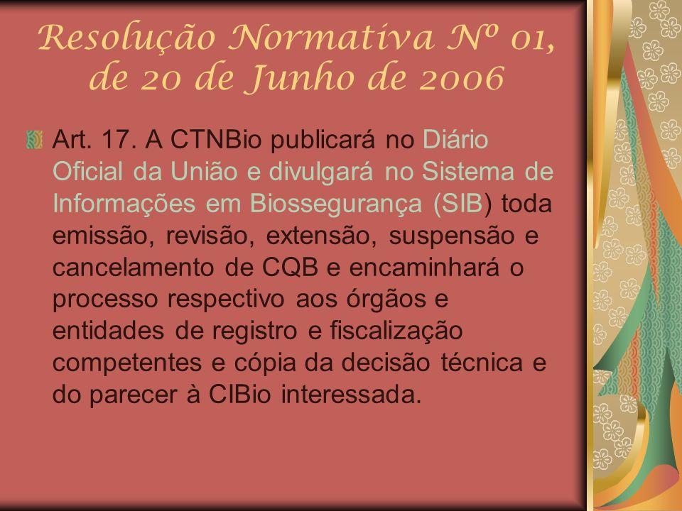 Resolução Normativa Nº 01, de 20 de Junho de 2006 Art. 17. A CTNBio publicará no Diário Oficial da União e divulgará no Sistema de Informações em Bios
