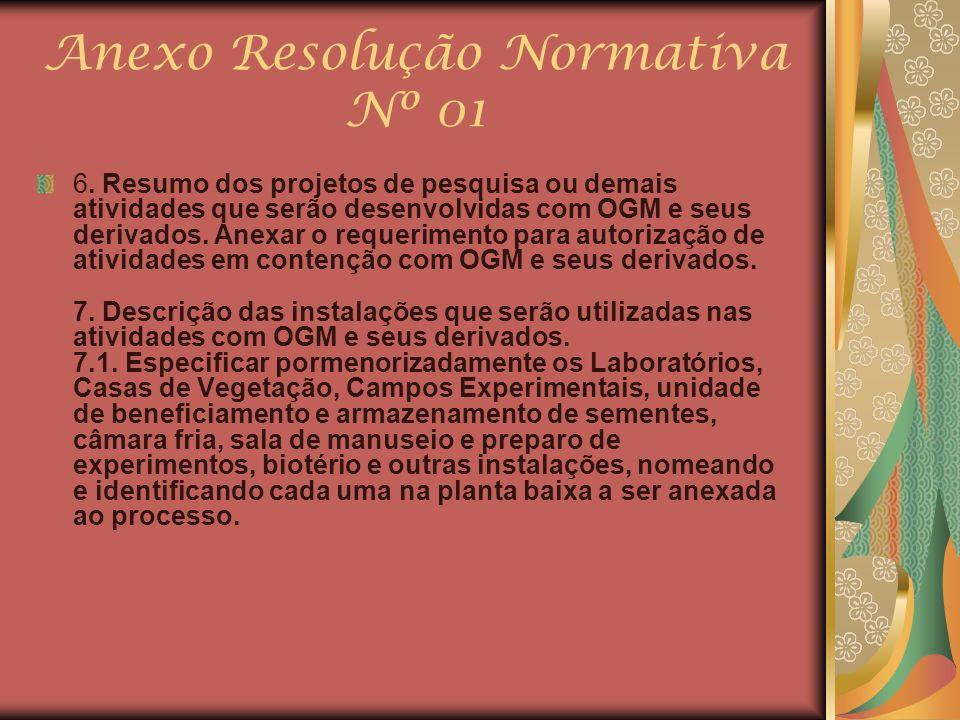 Anexo Resolução Normativa Nº 01 6. Resumo dos projetos de pesquisa ou demais atividades que serão desenvolvidas com OGM e seus derivados. Anexar o req