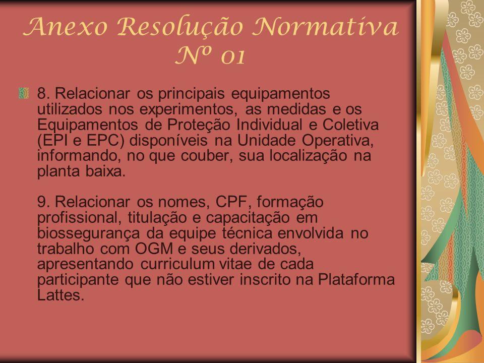 Anexo Resolução Normativa Nº 01 8. Relacionar os principais equipamentos utilizados nos experimentos, as medidas e os Equipamentos de Proteção Individ
