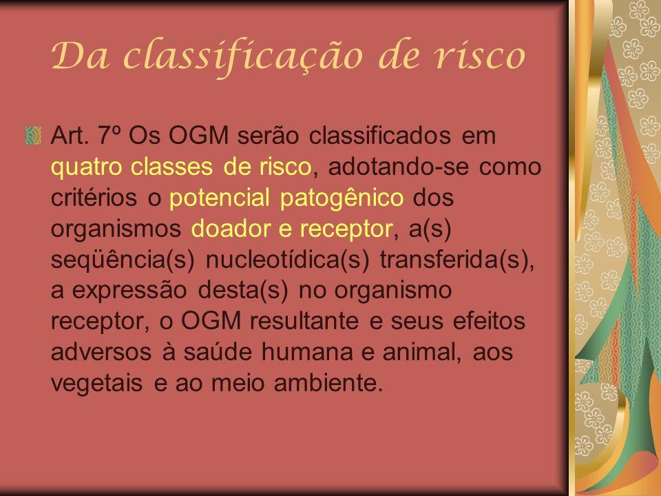 Da classificação de risco Art. 7º Os OGM serão classificados em quatro classes de risco, adotando-se como critérios o potencial patogênico dos organis