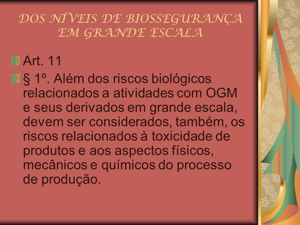 DOS NÍVEIS DE BIOSSEGURANÇA EM GRANDE ESCALA Art. 11 § 1º. Além dos riscos biológicos relacionados a atividades com OGM e seus derivados em grande esc