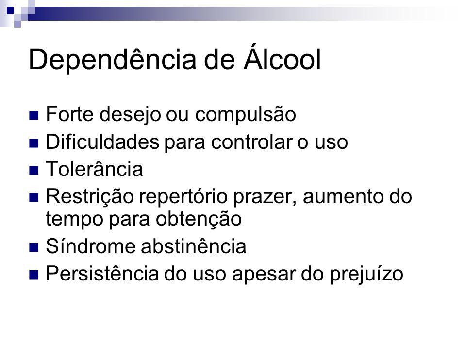 Dependência de Álcool Forte desejo ou compulsão Dificuldades para controlar o uso Tolerância Restrição repertório prazer, aumento do tempo para obtenç