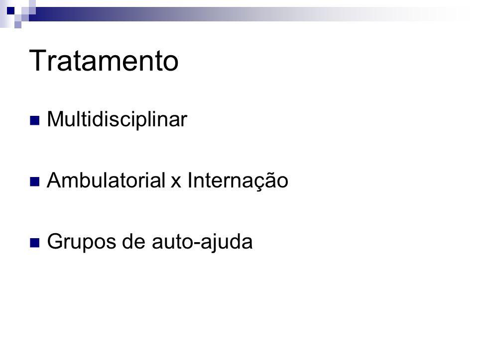 Tratamento Multidisciplinar Ambulatorial x Internação Grupos de auto-ajuda
