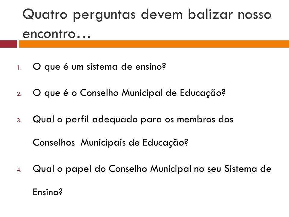 Quatro perguntas devem balizar nosso encontro… 1. O que é um sistema de ensino? 2. O que é o Conselho Municipal de Educação? 3. Qual o perfil adequado