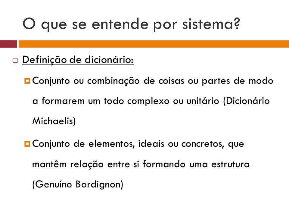 O que se entende por sistema? Definição de dicionário: Conjunto ou combinação de coisas ou partes de modo a formarem um todo complexo ou unitário (Dic