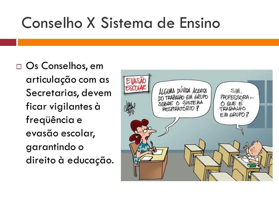 Conselho X Sistema de Ensino Os Conselhos, em articulação com as Secretarias, devem ficar vigilantes à freqüência e evasão escolar, garantindo o direi