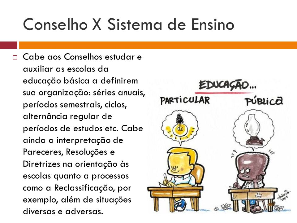 Conselho X Sistema de Ensino Cabe aos Conselhos estudar e auxiliar as escolas da educação básica a definirem sua organização: séries anuais, períodos