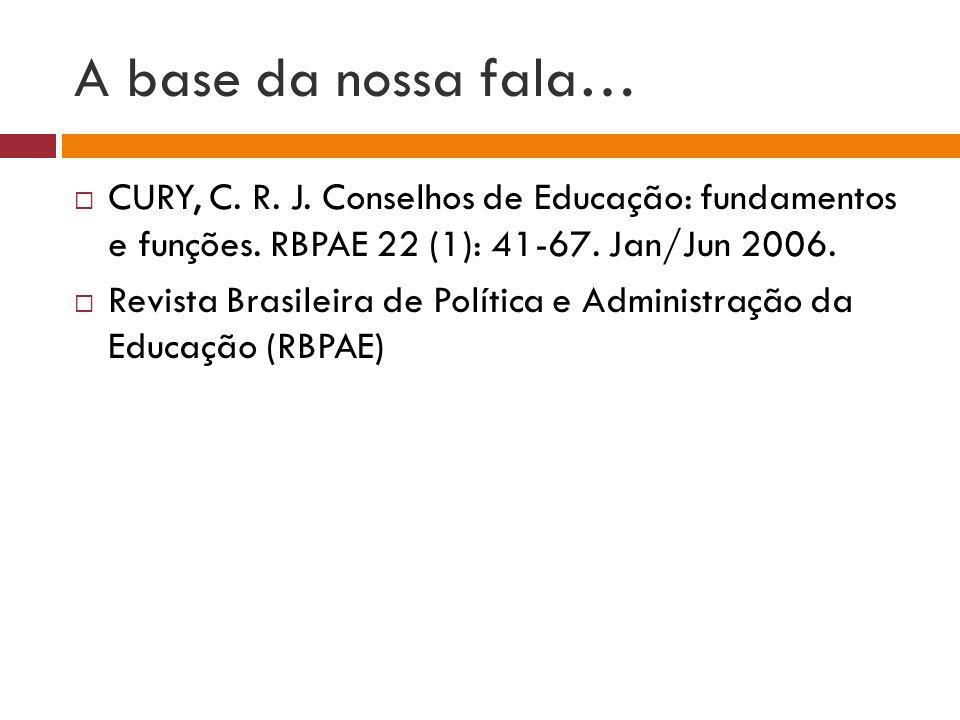 A base da nossa fala… CURY, C. R. J. Conselhos de Educação: fundamentos e funções. RBPAE 22 (1): 41-67. Jan/Jun 2006. Revista Brasileira de Política e