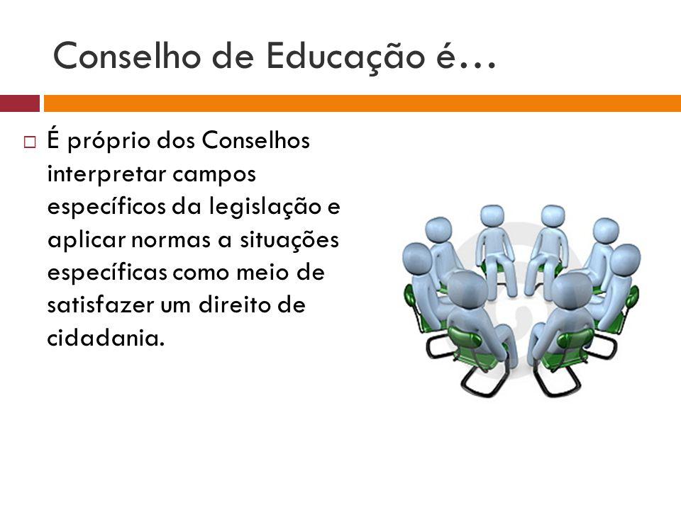 Conselho de Educação é… É próprio dos Conselhos interpretar campos específicos da legislação e aplicar normas a situações específicas como meio de sat