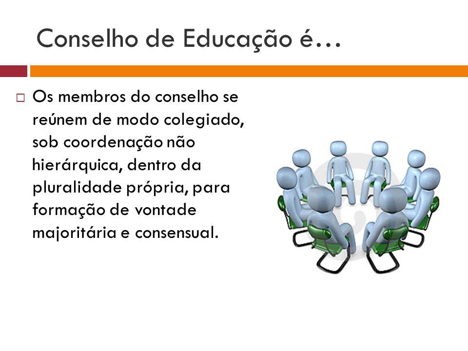 Conselho de Educação é… Os membros do conselho se reúnem de modo colegiado, sob coordenação não hierárquica, dentro da pluralidade própria, para forma