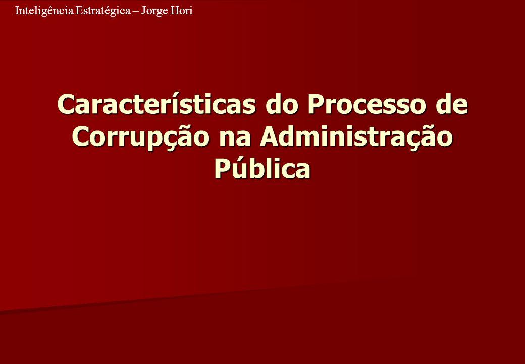 Inteligência Estratégica – Jorge Hori Características do Processo de Corrupção na Administração Pública