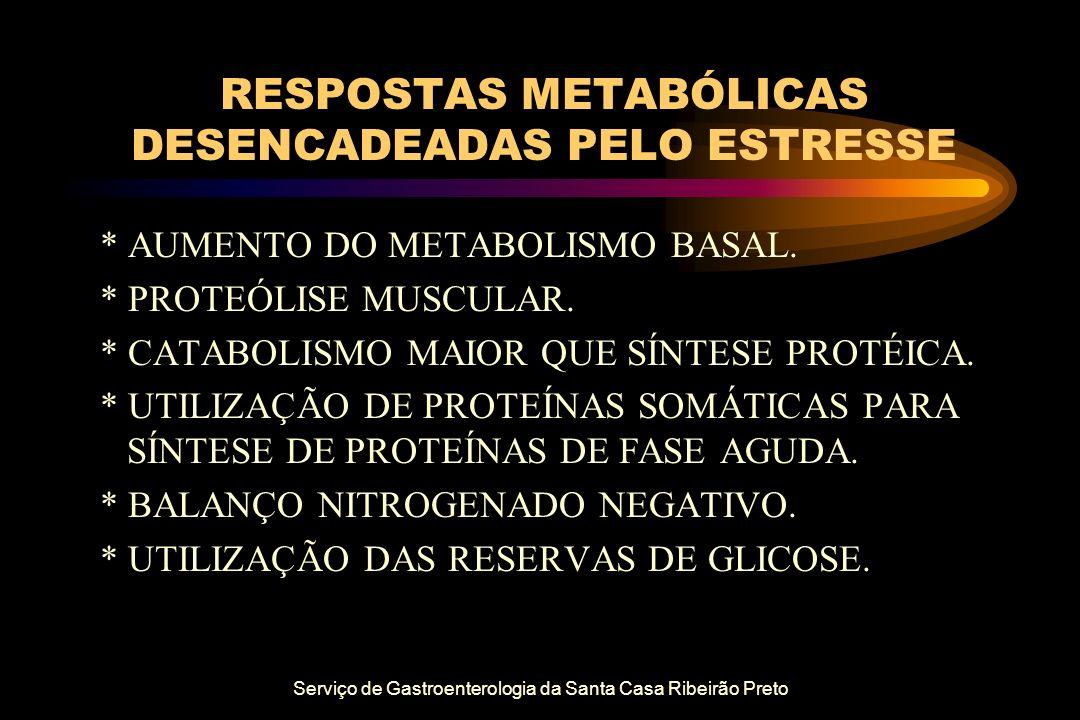 Serviço de Gastroenterologia da Santa Casa Ribeirão Preto RESPOSTAS METABÓLICAS DESENCADEADAS PELO ESTRESSE * AUMENTO DO METABOLISMO BASAL. * PROTEÓLI
