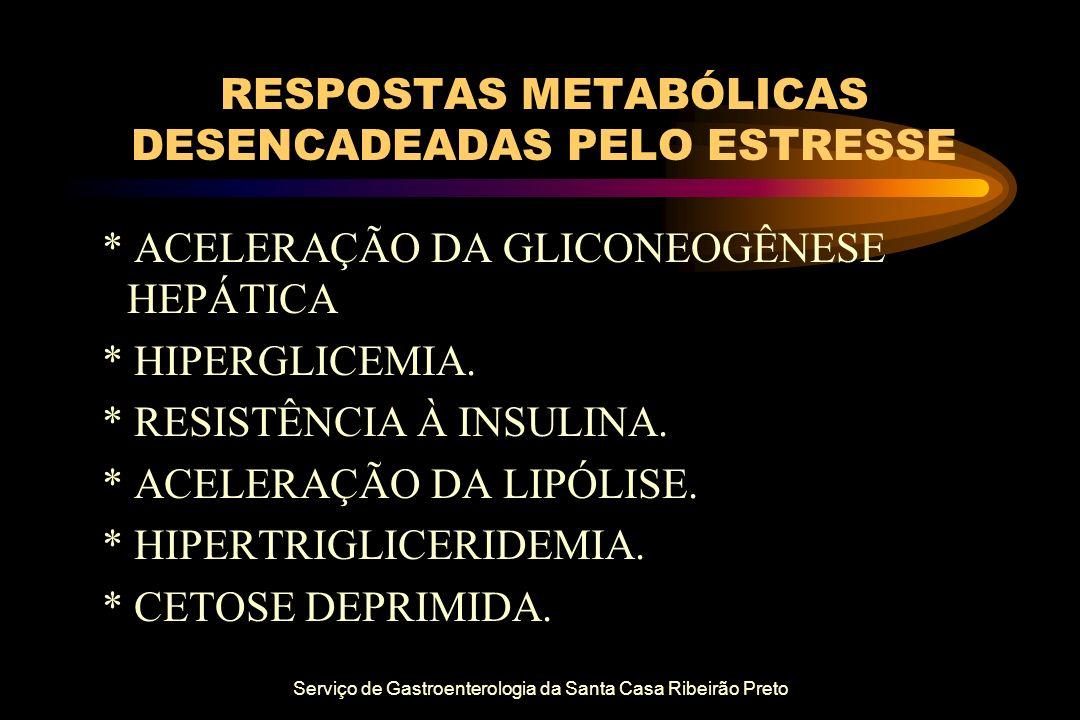 Serviço de Gastroenterologia da Santa Casa Ribeirão Preto RESPOSTAS METABÓLICAS DESENCADEADAS PELO ESTRESSE * ACELERAÇÃO DA GLICONEOGÊNESE HEPÁTICA *