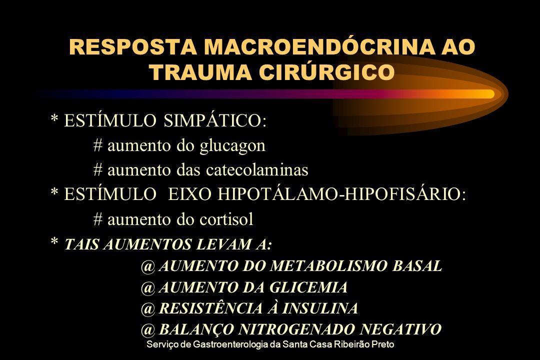 Serviço de Gastroenterologia da Santa Casa Ribeirão Preto RESPOSTA MACROENDÓCRINA AO TRAUMA CIRÚRGICO * ESTÍMULO SIMPÁTICO: # aumento do glucagon # au