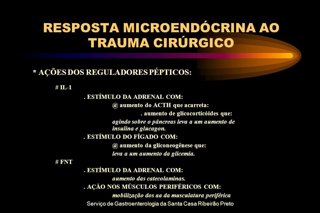 Serviço de Gastroenterologia da Santa Casa Ribeirão Preto RESPOSTA MICROENDÓCRINA AO TRAUMA CIRÚRGICO * AÇÕES DOS REGULADORES PÉPTICOS: # IL-1. ESTÍMU