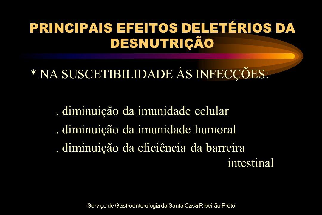 Serviço de Gastroenterologia da Santa Casa Ribeirão Preto PRINCIPAIS EFEITOS DELETÉRIOS DA DESNUTRIÇÃO * NA SUSCETIBILIDADE ÀS INFECÇÕES:. diminuição