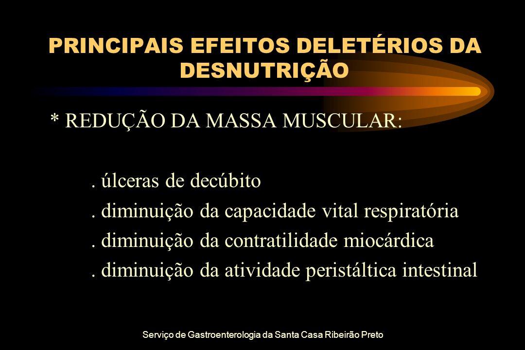Serviço de Gastroenterologia da Santa Casa Ribeirão Preto PRINCIPAIS EFEITOS DELETÉRIOS DA DESNUTRIÇÃO * REDUÇÃO DA MASSA MUSCULAR:. úlceras de decúbi