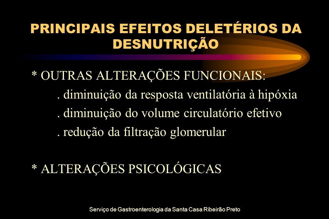 Serviço de Gastroenterologia da Santa Casa Ribeirão Preto PRINCIPAIS EFEITOS DELETÉRIOS DA DESNUTRIÇÃO * OUTRAS ALTERAÇÕES FUNCIONAIS:. diminuição da