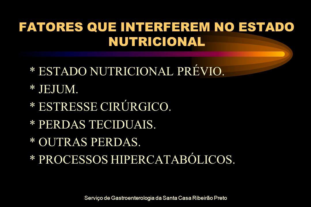 Serviço de Gastroenterologia da Santa Casa Ribeirão Preto FATORES QUE INTERFEREM NO ESTADO NUTRICIONAL * ESTADO NUTRICIONAL PRÉVIO. * JEJUM. * ESTRESS