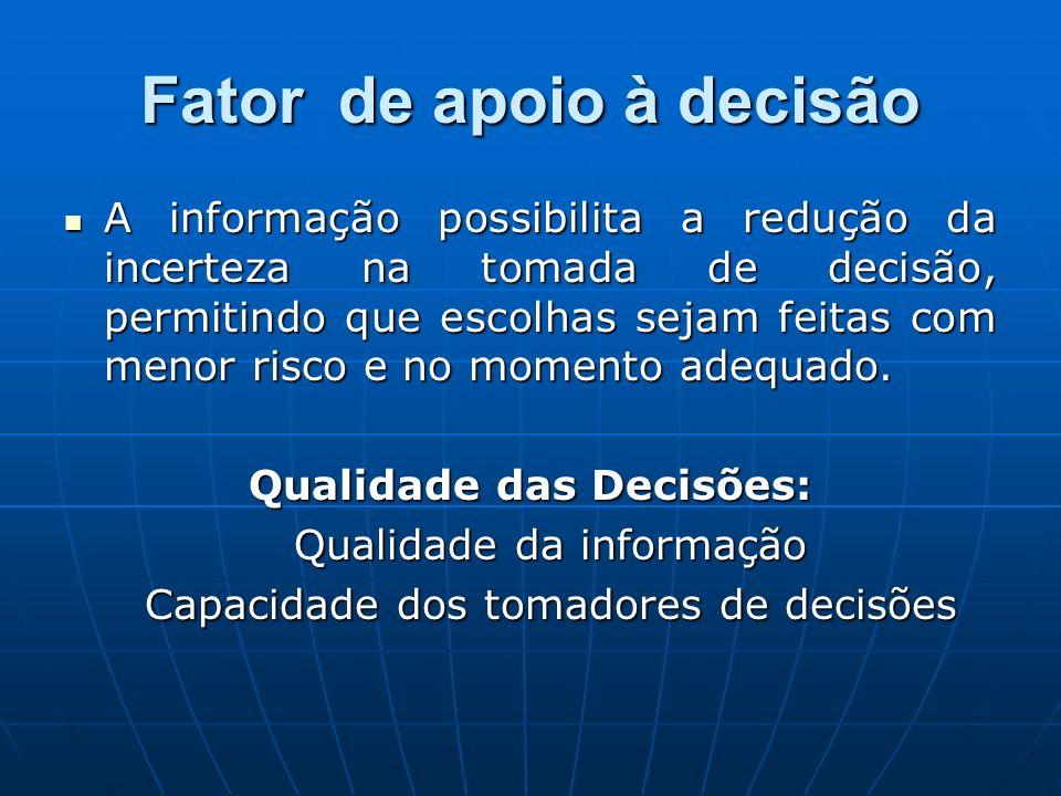 Fator de apoio à decisão A informação possibilita a redução da incerteza na tomada de decisão, permitindo que escolhas sejam feitas com menor risco e