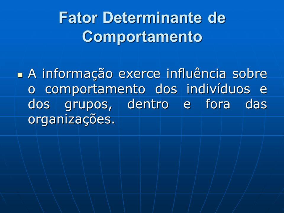 Fator Determinante de Comportamento A informação exerce influência sobre o comportamento dos indivíduos e dos grupos, dentro e fora das organizações.