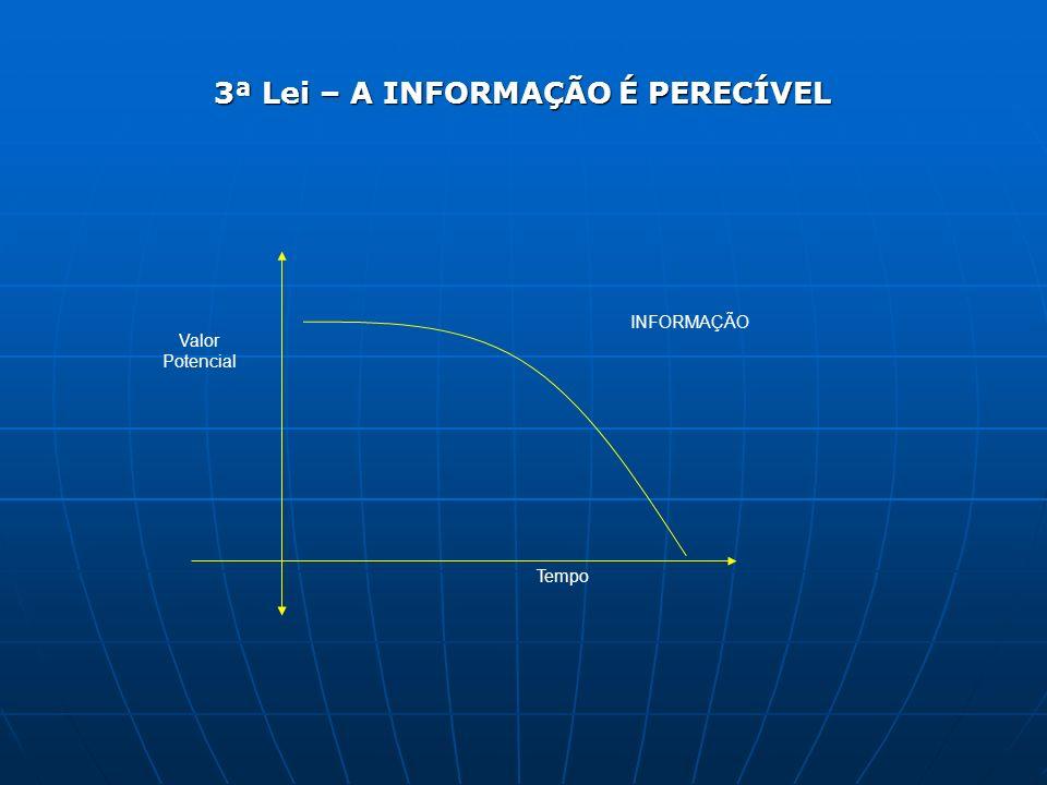 3ª Lei – A INFORMAÇÃO É PERECÍVEL INFORMAÇÃO Valor Potencial Tempo
