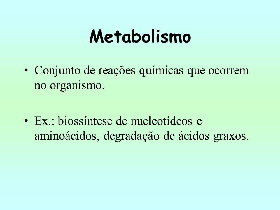 Metabolismo Conjunto de reações químicas que ocorrem no organismo. Ex.: biossíntese de nucleotídeos e aminoácidos, degradação de ácidos graxos.