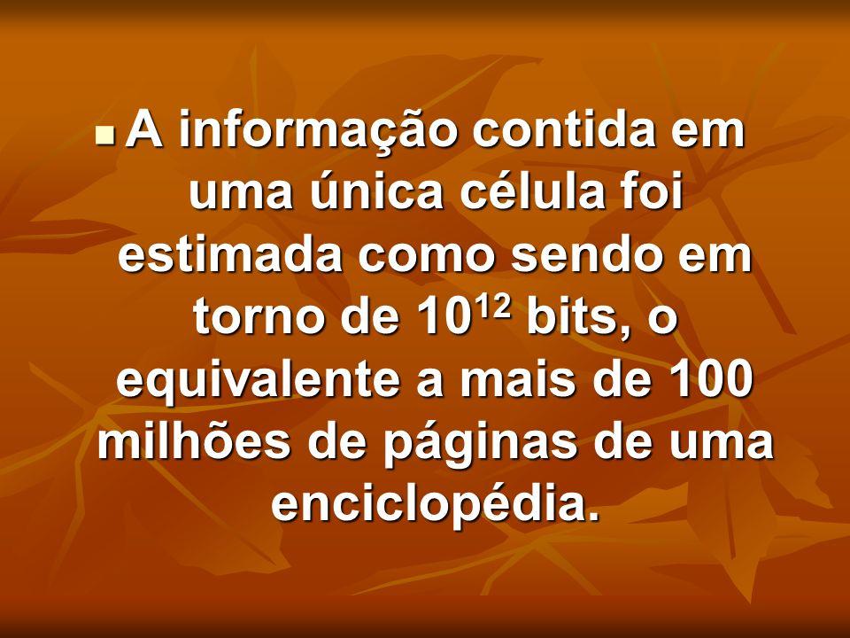A informação contida em uma única célula foi estimada como sendo em torno de 10 12 bits, o equivalente a mais de 100 milhões de páginas de uma enciclo