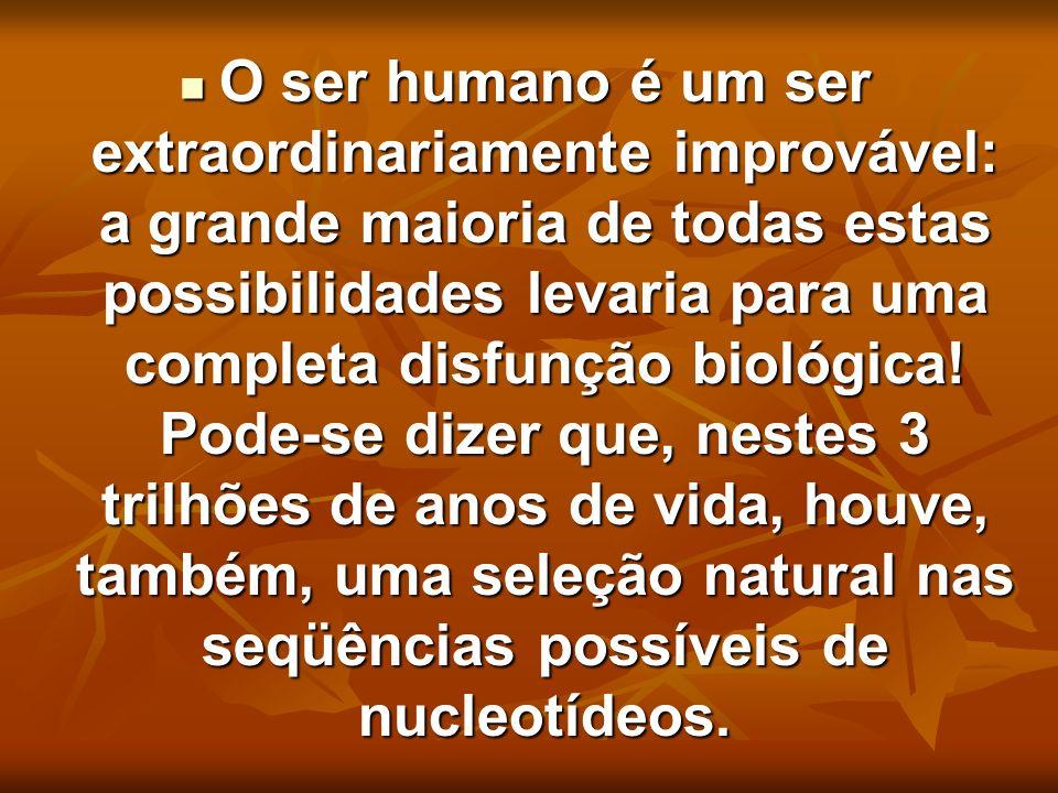 O ser humano é um ser extraordinariamente improvável: a grande maioria de todas estas possibilidades levaria para uma completa disfunção biológica! Po