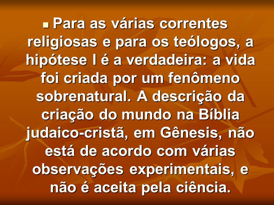 Para as várias correntes religiosas e para os teólogos, a hipótese I é a verdadeira: a vida foi criada por um fenômeno sobrenatural. A descrição da cr