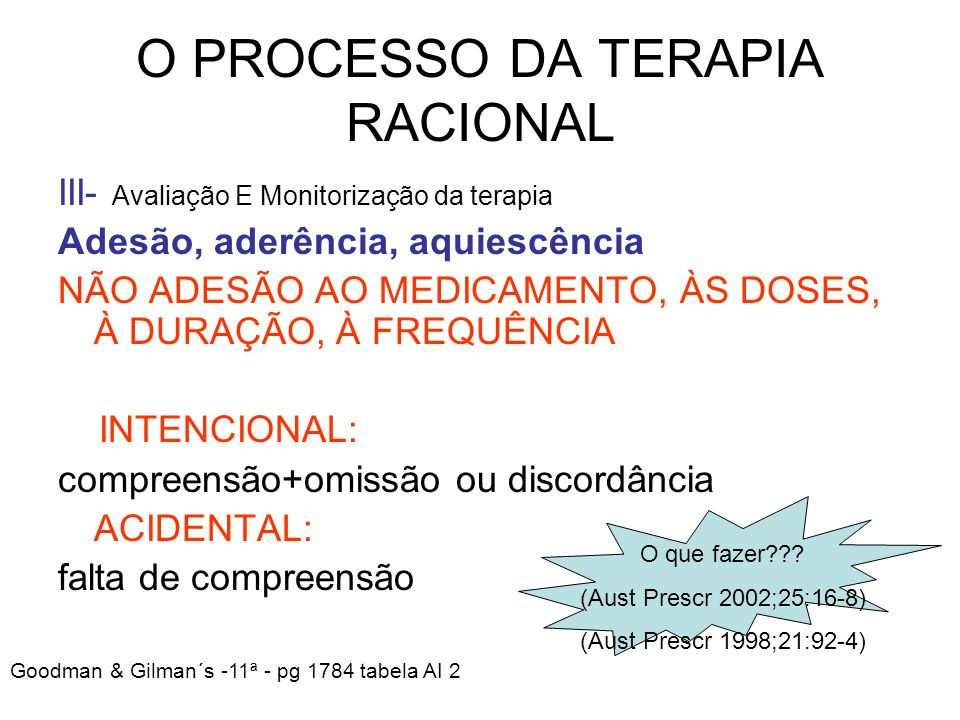 O PROCESSO DA TERAPIA RACIONAL III- Avaliação E Monitorização da terapia Adesão, aderência, aquiescência NÃO ADESÃO AO MEDICAMENTO, ÀS DOSES, À DURAÇÃ