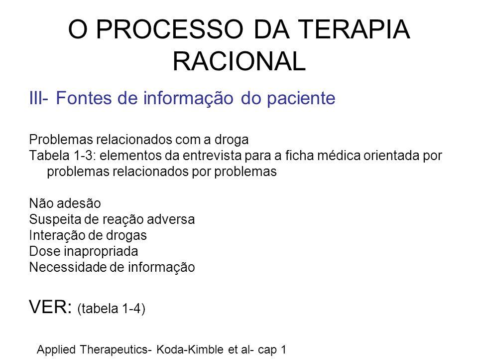 O PROCESSO DA TERAPIA RACIONAL III- Fontes de informação do paciente Problemas relacionados com a droga Tabela 1-3: elementos da entrevista para a fic