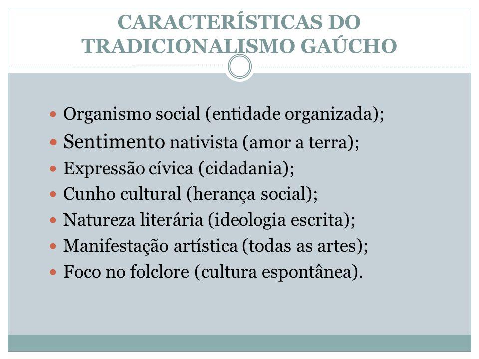 CARACTERÍSTICAS DO TRADICIONALISMO GAÚCHO Organismo social (entidade organizada); Sentimento nativista (amor a terra); Expressão cívica (cidadania); C