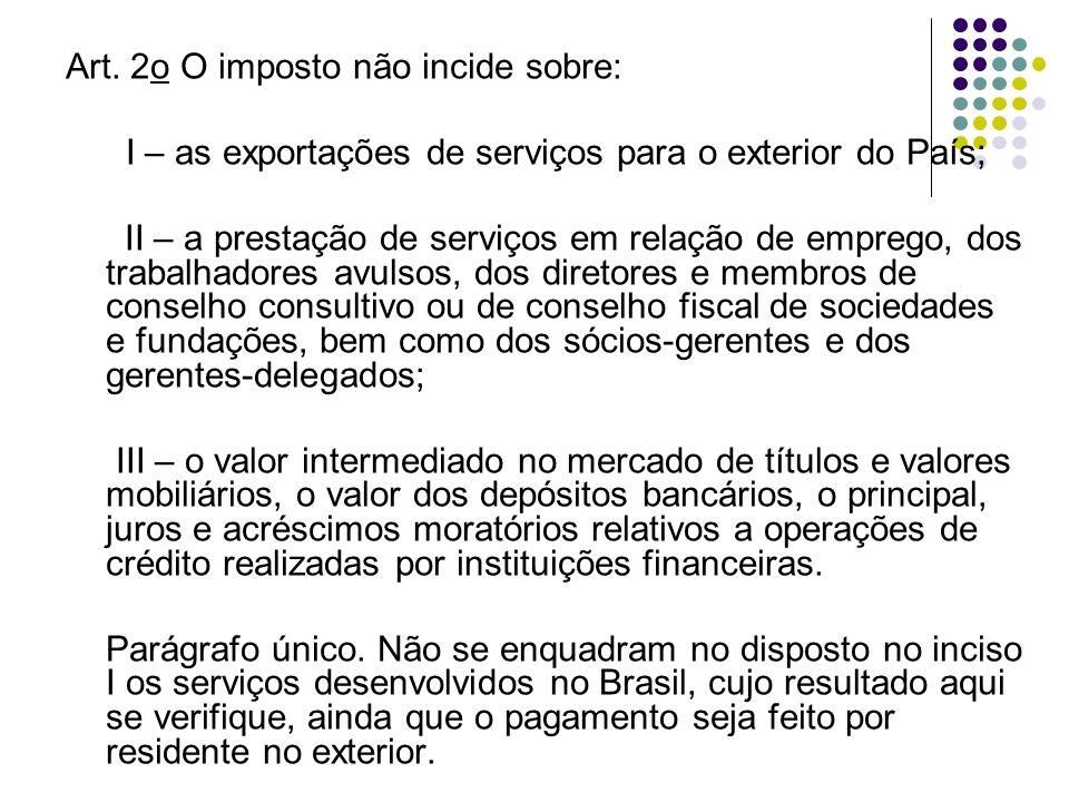 Art. 2o O imposto não incide sobre: I – as exportações de serviços para o exterior do País; II – a prestação de serviços em relação de emprego, dos tr