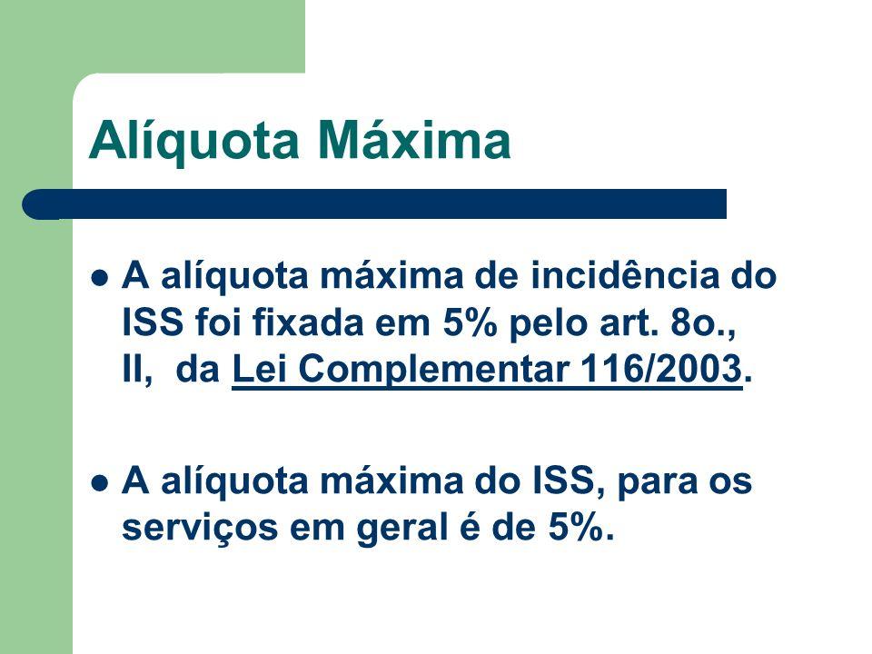 Alíquota Máxima A alíquota máxima de incidência do ISS foi fixada em 5% pelo art. 8o., II, da Lei Complementar 116/2003.Lei Complementar 116/2003 A al