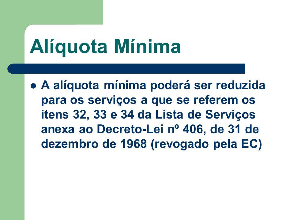 Alíquota Mínima A alíquota mínima poderá ser reduzida para os serviços a que se referem os itens 32, 33 e 34 da Lista de Serviços anexa ao Decreto-Lei