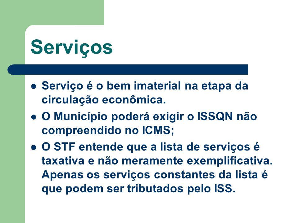 Serviços Serviço é o bem imaterial na etapa da circulação econômica. O Município poderá exigir o ISSQN não compreendido no ICMS; O STF entende que a l