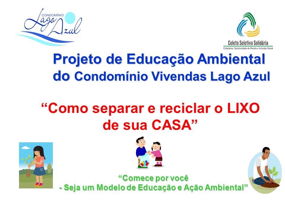 Comece por você - Seja um Modelo de Educação e Ação Ambiental Como separar e reciclar o LIXO de sua CASA Projeto de Educação Ambiental do Condomínio V