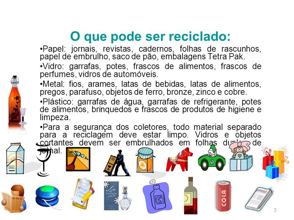 O que pode ser reciclado: Papel: jornais, revistas, cadernos, folhas de rascunhos, papel de embrulho, saco de pão, embalagens Tetra Pak. Vidro: garraf